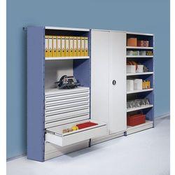 System regałowo-szafowy ze ściankami tylnymi i bocznymi,wys. regału 2500 mm marki Steelo ab