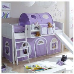 Ticaa łóżko ze zjeżdżalnią ekki sosna white country kolor fioletowy/biały marki Ticaa kindermöbel