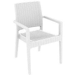Krzesło ogrodowe na taras polyrattan Ibiza Siesta białe z kategorii Krzesła ogrodowe