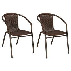 Krzesła ogrodowe 2 szt. metalowe, plecione krzesło na balkon brązowe zestaw mix