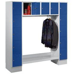 Szafa na garderobę, otwarta, wys. x szer. całk.: 1850x1800 mm, 14 półek, niebies