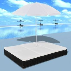 Vidaxl leżak ogrodowy z parasolem, polirattan, czarny