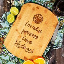 Mygiftdna I'm khalessi - deska do krojenia z grawerem - deska bambusowa