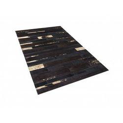 Dywan - brązowo - złoty - skóra - patchwork - 80x150 cm - ARTVIN (7081451547255)