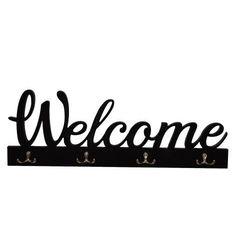 Wieszak drewniany z napisem Welcome
