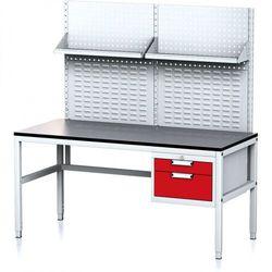 B2b partner Stół warsztatowy mechanic ii z panelem perforowanym i półkami, 1600 x 700 x 745-985 mm, 2 kontenery szufladowe, szary/czerwony