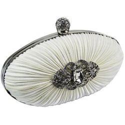 Biała torebka ślubno wieczorowa z kryształkową broszką, kup u jednego z partnerów