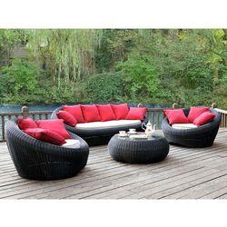 Vente-unique Salon ogrodowy whiteheaven z technorattanu w kolorze antracytowym: sofa, 2 fotele i ława