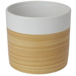 Goodhome Doniczka ceramiczna ozdobna 19 cm efekt drewna (3663602441014)