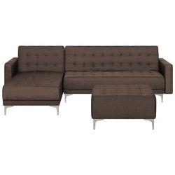Sofa rozkładana tapicerowana ciemnobrązowa prawostronna z otomaną ABERDEEN (4260624117010)