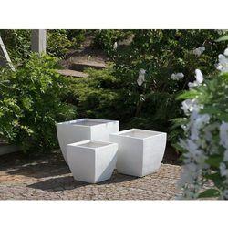 Beliani Doniczka biała kwadratowa 53 x 53 x 51 cm oricos