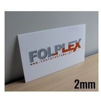 Druk uv na plexi mlecznej 2mm z materiałem marki Folplex