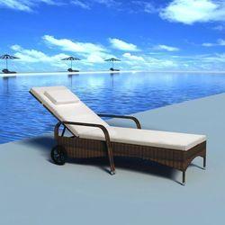 Leżak z poduszką i dwoma kółkami, polirattanowy, brązowy marki Vidaxl