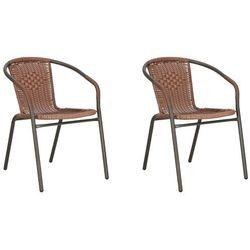 Krzesła ogrodowe 2 szt. metalowe na balkon brązowe zestaw