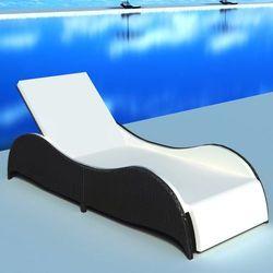 Vidaxl leżak ogrodowy w opływowym kształcie, polirattan, czarny