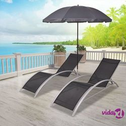 Vidaxl zestaw leżaków z parasolem, 3 elementy, aluminium (8718475970514)
