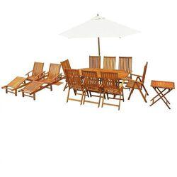 13-częściowy zestaw mebli ogrodowych, lite drewno akacjowe marki Vidaxl