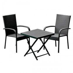 Komplet mebli ogrodowych stolik z krzesłami pico z technorattanu czarny marki Bello giardino