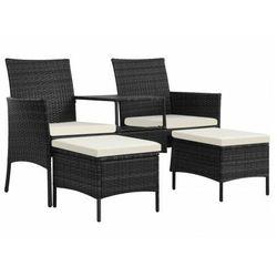 Czarna sofa ogrodowa z polirattanu ze stolikiem – Terry