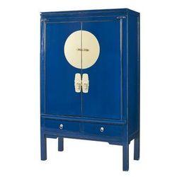 Szafa NANTONG – 2 pary drzwi i 2 szuflady – Dł. 105 cm – Drewno wiązu – Kolor granatowy
