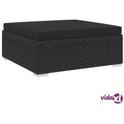 podnóżek do mebli modułowych, z poduszką, polirattan, czarny marki Vidaxl