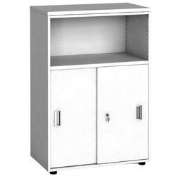 B2b partner Szafa biurowa kombinowana, przesuwne drzwi, 1087 x 800 x 420 mm, biały