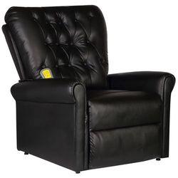 vidaXL Elektryczny fotel masujący z eko-skóry, regulowany, czarny, kolor czarny