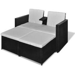 vidaXL Meble rattanowe sofa i dwa podnóżki (8718475851363)