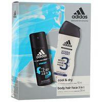 Adidas  cool&dry body hair face 3in1 zestaw kosmetyków dla mężczyzn (żel + dezodorant)