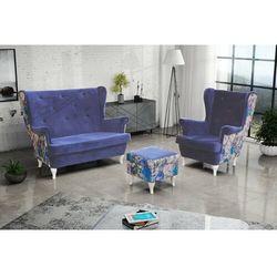 """Zestaw """"RIKI"""" sofa + fotel+podnóżek - pudrowy róż, kolor różowy"""