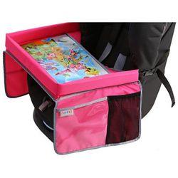 bezpieczny stolik podróżnika z mapą europy, różowy marki Tuloko