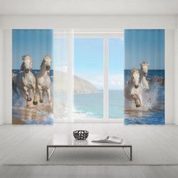 Zasłona okienna na wymiar komplet - RUNNING HORSES