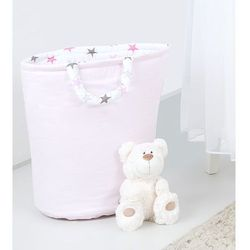 dwustronny kosz na zabawki jasny róż / gwiazdki szare i różowe d marki Mamo-tato