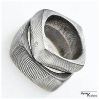 Kuta obrączka damasteel i diament 1.8mm – Okrągły kwadracik