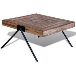 Stolik kawowy z odzyskanego drewna tekowego, nogi w kształcie V