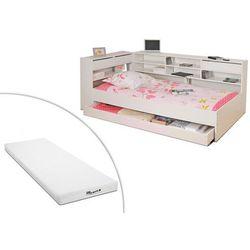 Łóżko renato ii z szufladami i półkami – 90 × 190 cm – kolor biały + materac stelo kids 90 × 190 cm marki Vente-unique