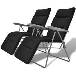 vidaXL Składane krzesła ogrodowe wyściełane, 2 szt., czarne