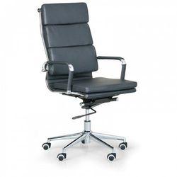 Krzesło biurowe KIT, skóra, czarny, chrom