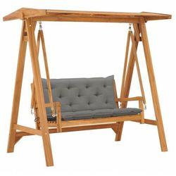 vidaXL Huśtawka ogrodowa z szarą poduszką, 170 cm, lite drewno tekowe