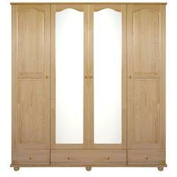 Szafa 4-drzwiowa z lustrem sosnowa Klasyk SF-01