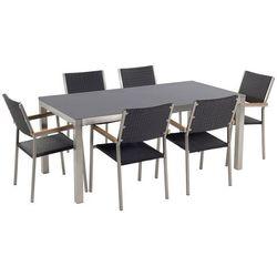 Zestaw ogrodowy szary ceramiczny blat 180 cm 6 rattanowych krzeseł GROSSETO
