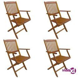 vidaXL Składane krzesła ogrodowe, 4 szt., lite drewno akacjowe (8719883605470)