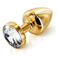 Plug analny zdobiony - Diogol Anni Butt Plug Round Gold 30 mm Złoty - produkt z kategorii- Wtyczki i korki an