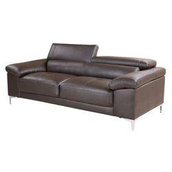 Sofa SOLANGE – 3-osobowa, skóra – kolor czekoladowy