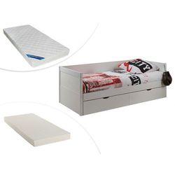 Kanapa z wysuwanym łóżkiem ALFIERO z szufladami - 90 × 190 cm - Lakierowane na biały matowy + materac do dostawki + materac ZEUS 90 × 190