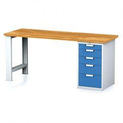 Stół warsztatowy MECHANIC, 2000x700x880 mm, 1x szufladowy kontener, 5 szuflad, szary/niebieski