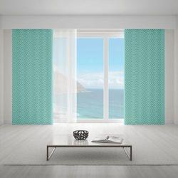 Zasłona okienna na wymiar - LAYER ZIGZAG TURQUOISE