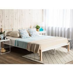 Łóżko białe z jasnobrązowymi nogami 180x200 cm GARDANNE