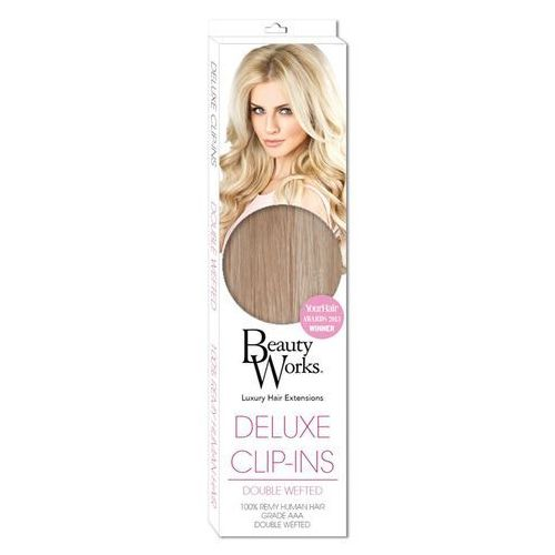 Deluxe Clip-In Hair Extensions 18 Inch - Champagne Blonde 613/18, Beauty Works