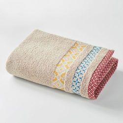 Bawełniany ręcznik kąpielowy evora z kolorową listwą. od producenta La redoute interieurs